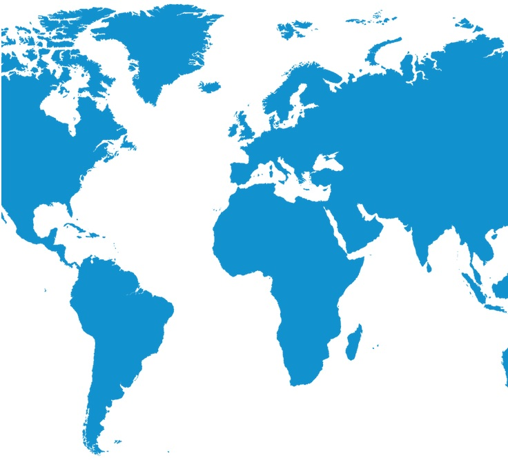 World map in blue showing the distributors for the micropumps of Bartels Mikrotechnik in the area of microfluidics